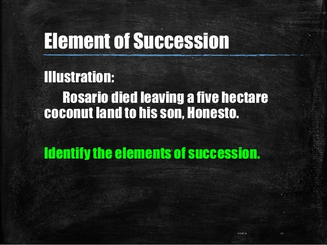Illustration: Rosario died leaving a five hectare coconut land to his son, Honesto. Identify the elements of succession. 0...