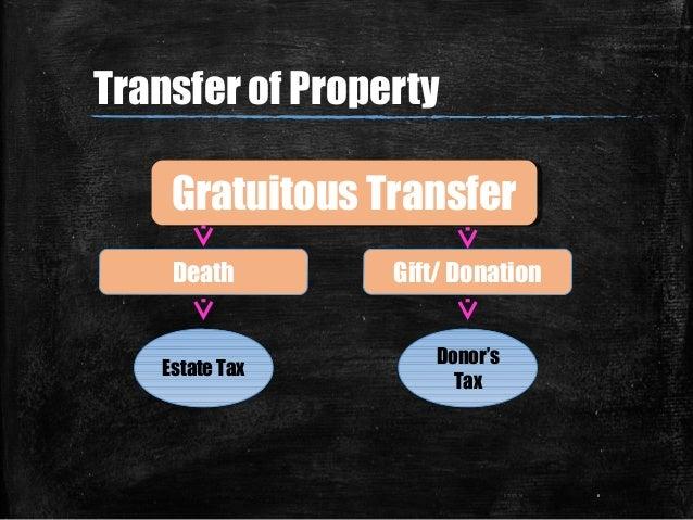 07/07/14 6 Gratuitous TransferGratuitous Transfer Gift/ DonationDeath Estate Tax Donor's Tax Transfer of Property