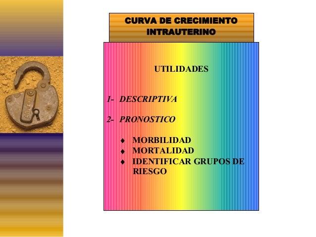 CURVA DE CRECIMIENTO INTRAUTERINO  UTILIDADES 1- DESCRIPTIVA 2- PRONOSTICO ♦ MORBILIDAD ♦ MORTALIDAD ♦ IDENTIFICAR GRUPOS ...
