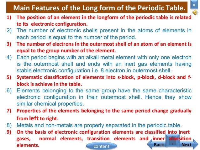 01 clasification of element nextcontent 10 main features of the long form of the periodic table urtaz
