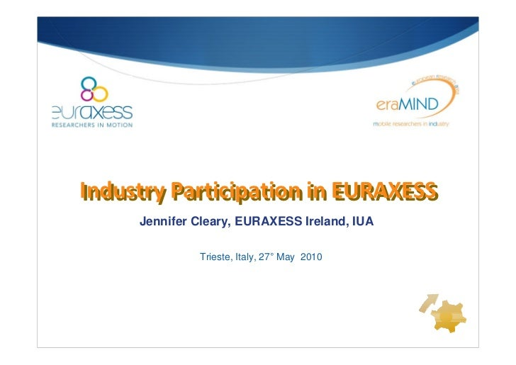 Industry Participation in EURAXESS Industry Participation in EURAXESS      Jennifer Cleary, EURAXESS Ireland, IUA         ...