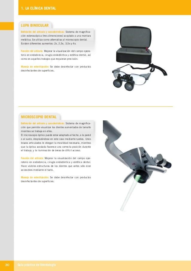 Guía práctica de Odontología30 1. LA CLÍNICA DENTAL MICROSCOPIO DENTAL Definición del artículo y características: Sistema ...