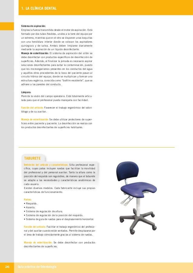 Guía práctica de Odontología26 1. LA CLÍNICA DENTAL TABURETE Definición del artículo y características: Silla profesional ...