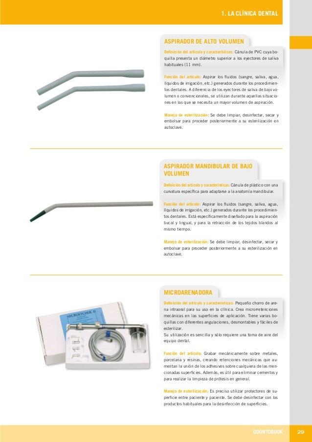 ODONTOBOOK 29 1. LA CLÍNICA DENTAL ASPIRADOR DE ALTO VOLUMEN Definición del artículo y características: Cánula de PVC cuya...