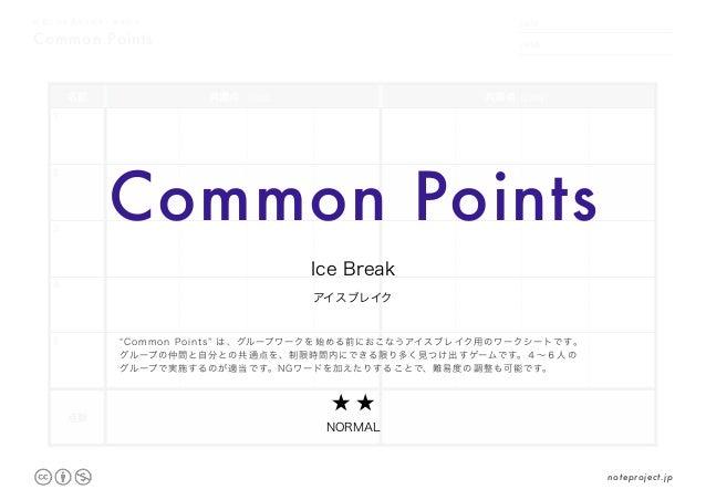 Common Points 他者との共通点を数多く導き出す DATE NAME .     . 名前 共通点(1回目) 共通点(2回目) 1 2 3 4 5 点数 Common Points アイスブレイク Ice Break ★ ★ NORM...