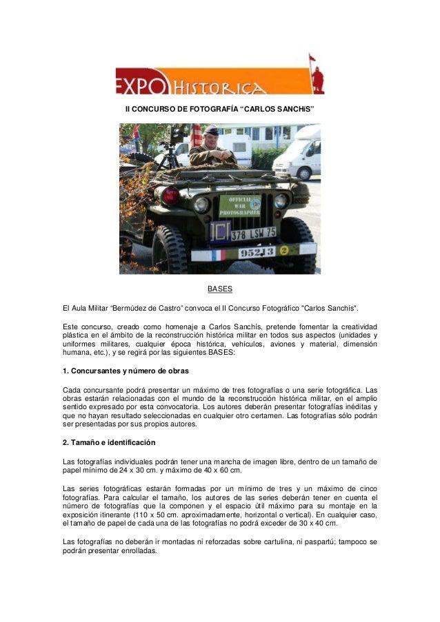 """II CONCURSO DE FOTOGRAFÍA """"CARLOS SANCHíS""""  BASES El Aula Militar """"Bermúdez de Castro"""" convoca el II Concurso Fotográfico ..."""