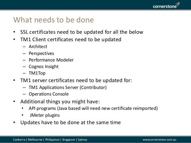 Cornerstone TM1 SSL Certificate Expiration