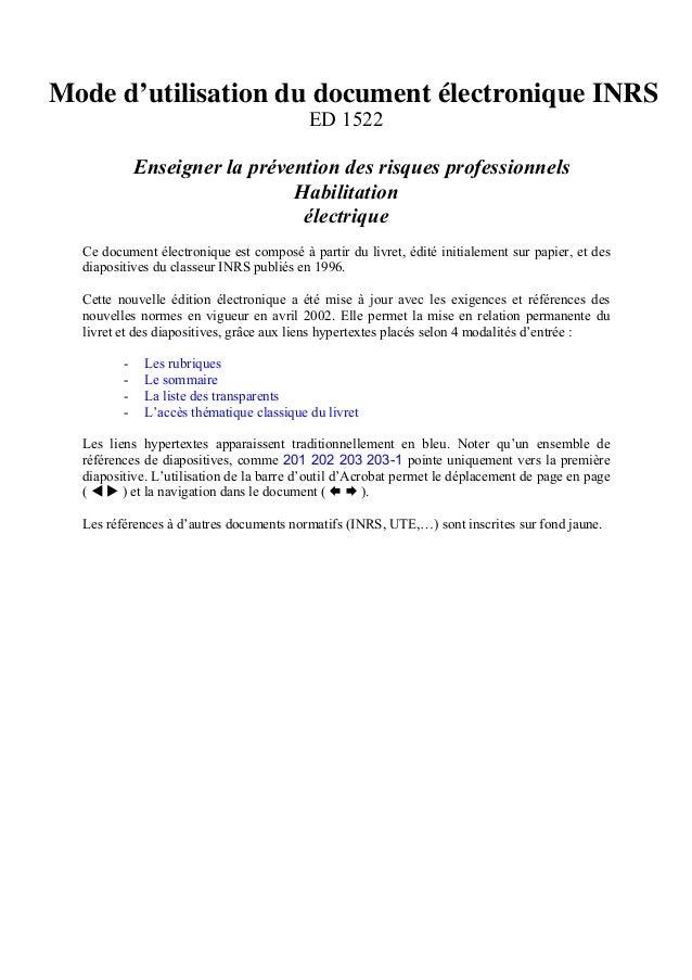 Mode d'utilisation du document électronique INRS ED 1522 Enseigner la prévention des risques professionnels Habilitation é...