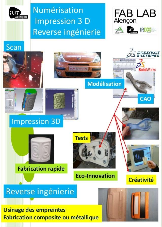 Scan Créativité Eco-Innovation Modélisation Tests Fabrication rapide CAO Impression 3D Reverse ingénierie Usinage des empr...