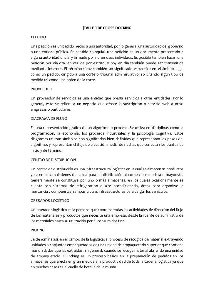  TALLER DE CROSS DOCKING<br />1 PEDIDO<br />Una petición es un pedido hecho a una autoridad, por lo general una autoridad ...