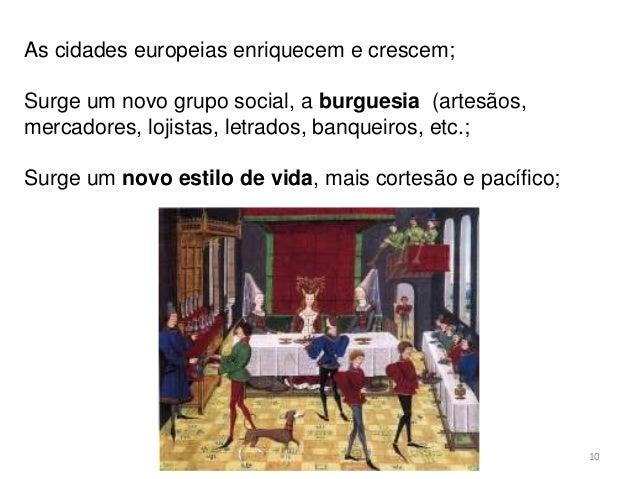 HCA, Curso Turismo, Módulo 4 10 As cidades europeias enriquecem e crescem; Surge um novo grupo social, a burguesia (artesã...