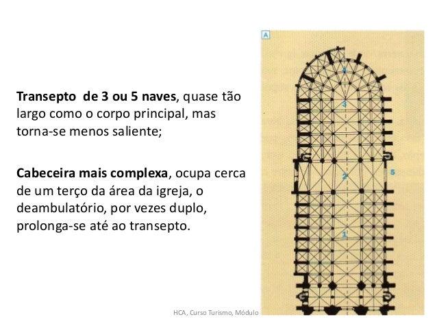 Transepto de 3 ou 5 naves, quase tão largo como o corpo principal, mas torna-se menos saliente; Cabeceira mais complexa, o...