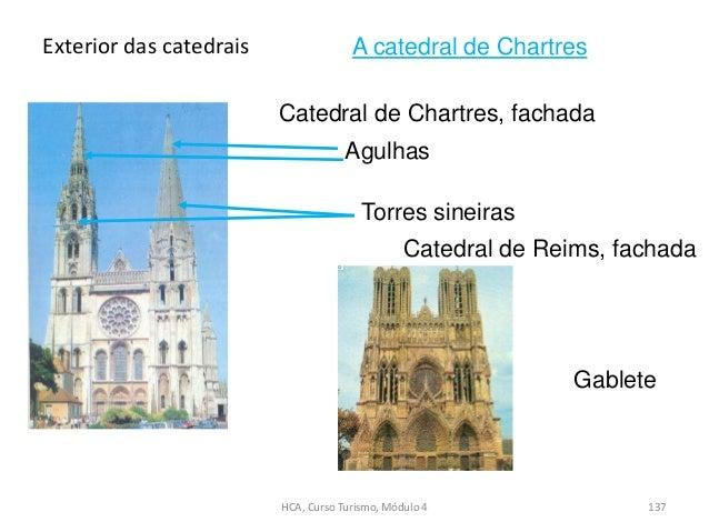 Catedral de Chartres, fachada Catedral de Reims, fachada Gablete Agulhas Torres sineiras Exterior das catedrais HCA, Curso...