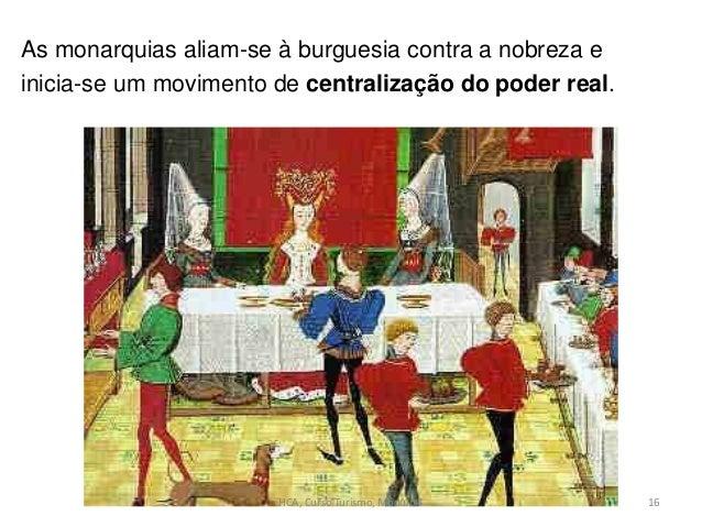 As monarquias aliam-se à burguesia contra a nobreza e inicia-se um movimento de centralização do poder real. HCA, Curso Tu...