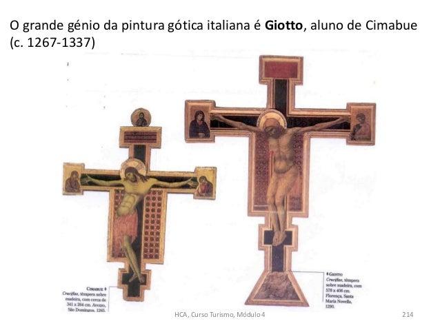 O grande génio da pintura gótica italiana é Giotto, aluno de Cimabue (c. 1267-1337) HCA, Curso Turismo, Módulo 4 214