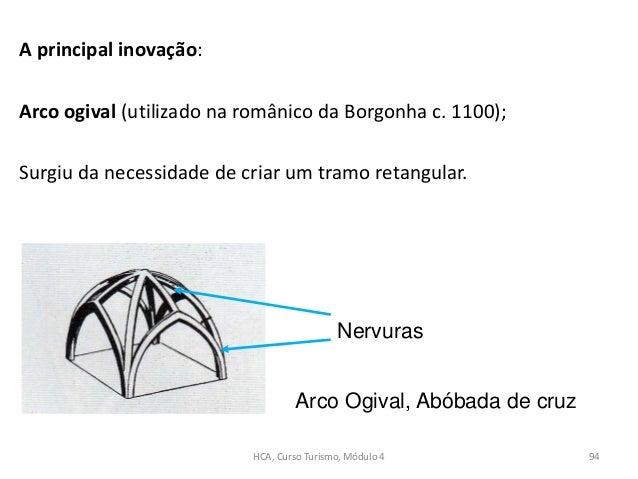 A principal inovação: Arco ogival (utilizado na românico da Borgonha c. 1100); Surgiu da necessidade de criar um tramo ret...