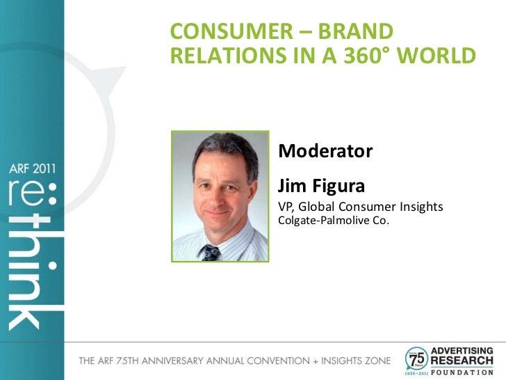 CONSUMER – BRANDRELATIONS IN A 360° WORLD        Moderator        Jim Figura        VP, Global Consumer Insights        Co...