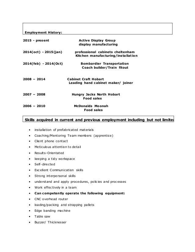 resume for cabinet maker