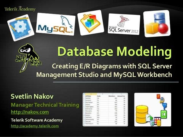 Database Modeling Creating E/R Diagrams with SQL Server Management Studio and MySQLWorkbench Svetlin Nakov Telerik Softwar...