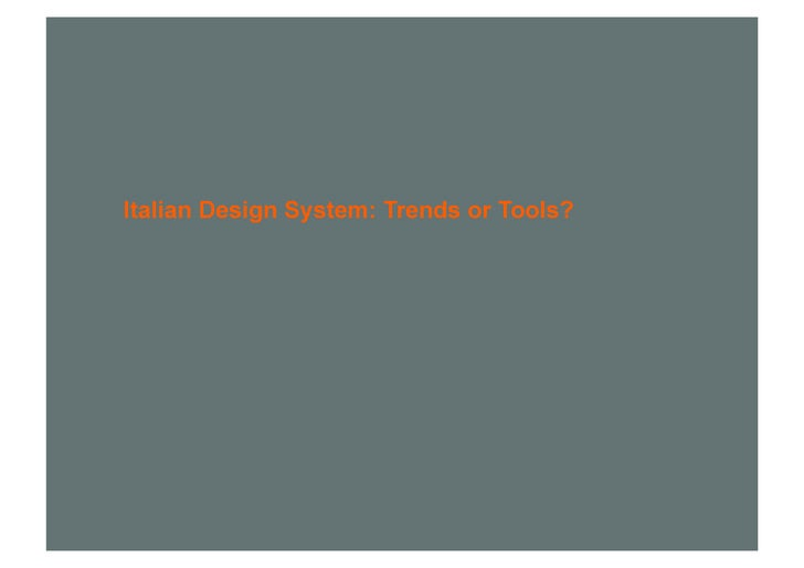 Italian Design System: Trends or Tools?
