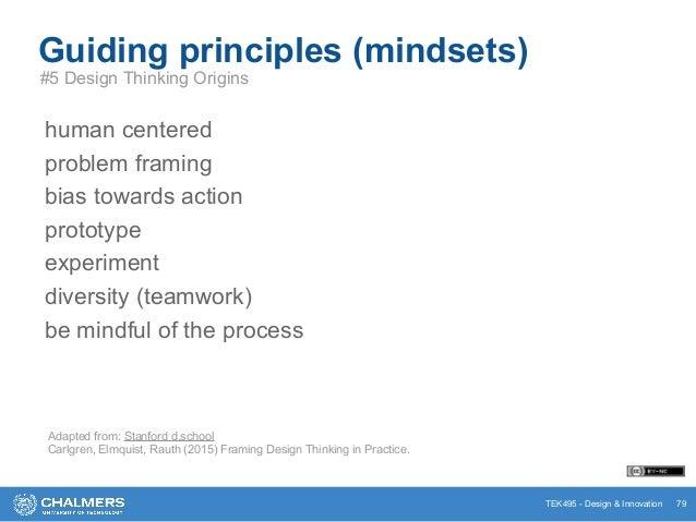 TEK495 - Design & Innovation 79 Guiding principles (mindsets) #5 Design Thinking Origins human centered problem framing bi...