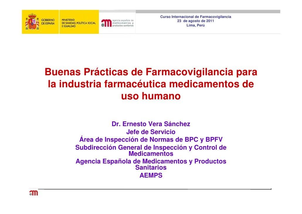 Curso Internacional de Farmacovigilancia                                          23 de agosto de 2011                    ...