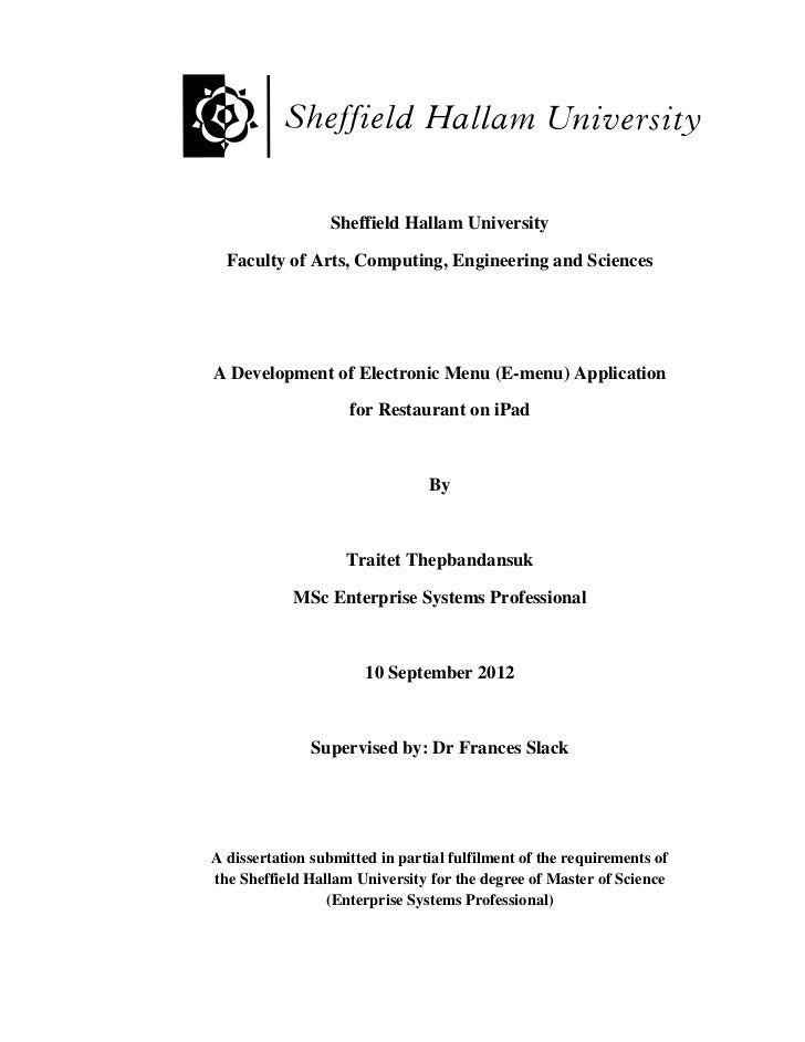 Specialisation thesis