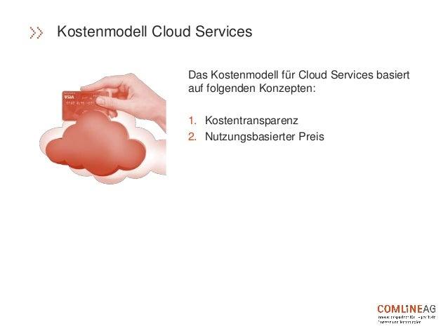 Das Kostenmodell für Cloud Services basiert auf folgenden Konzepten: 1. Kostentransparenz 2. Nutzungsbasierter Preis Koste...