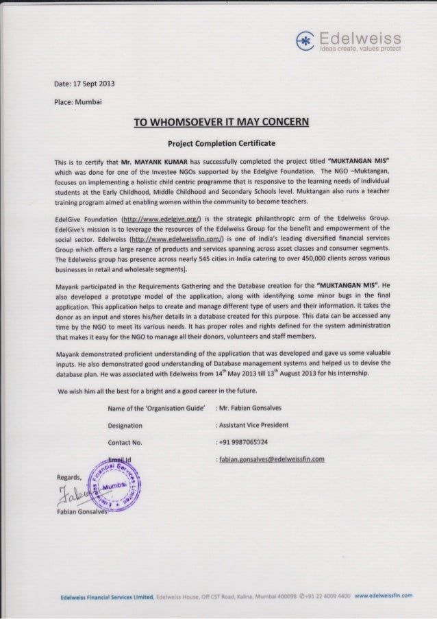 Edelweiss Certificate