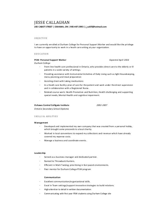 Psw Sample Resume Psw Cover Letter Examples The Letter Sample Jesse  Callaghan Resume Psw