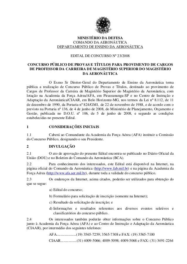 Concurso p blico edital de concurso n 23 2008 cargos de for Concurso profesor