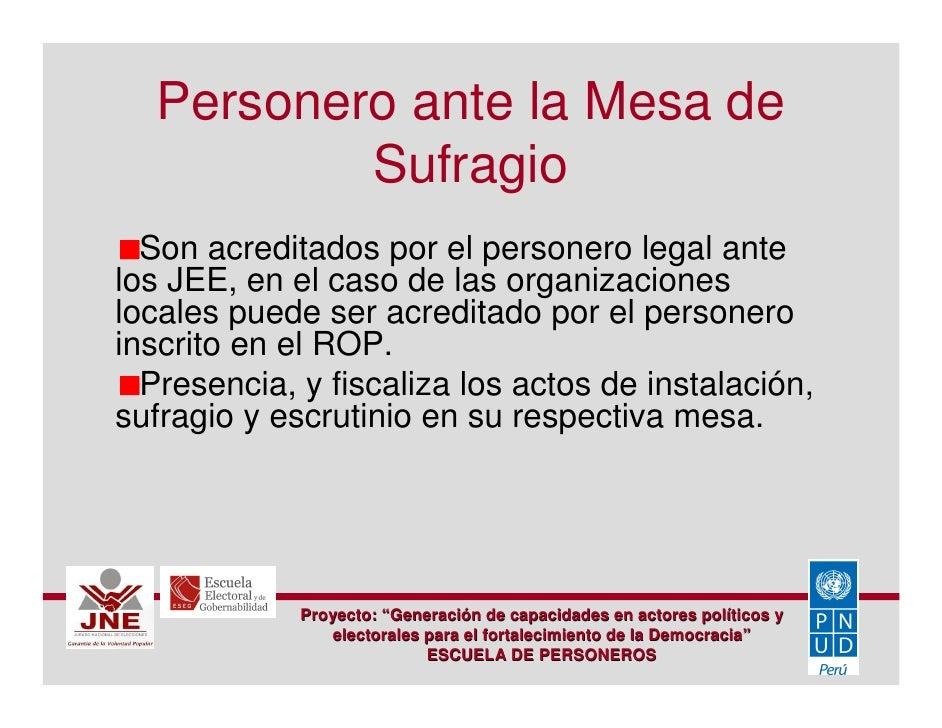 Escuela De Personeros 01 Jurado Nacional De Elecciones