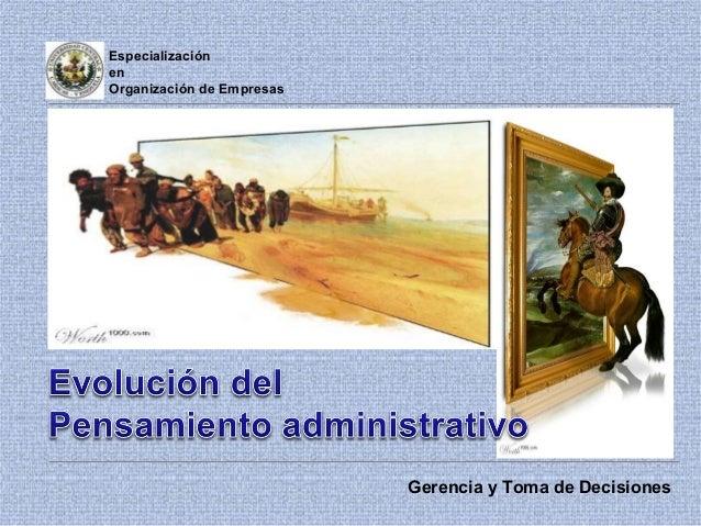 Especialización en Organización de Empresas Gerencia y Toma de Decisiones