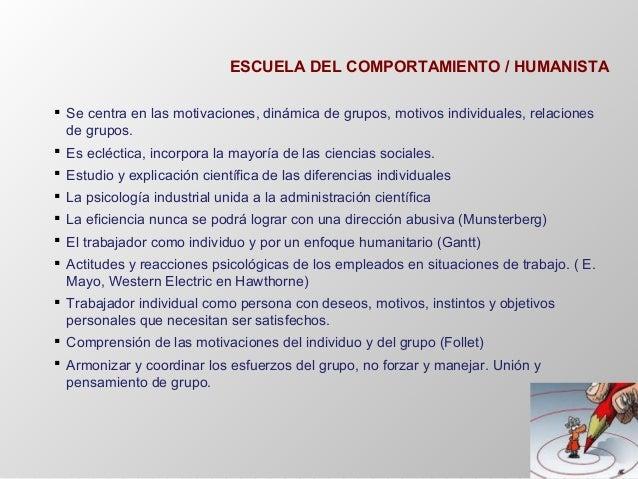 ESCUELA DEL COMPORTAMIENTO / HUMANISTA  Se centra en las motivaciones, dinámica de grupos, motivos individuales, relacion...
