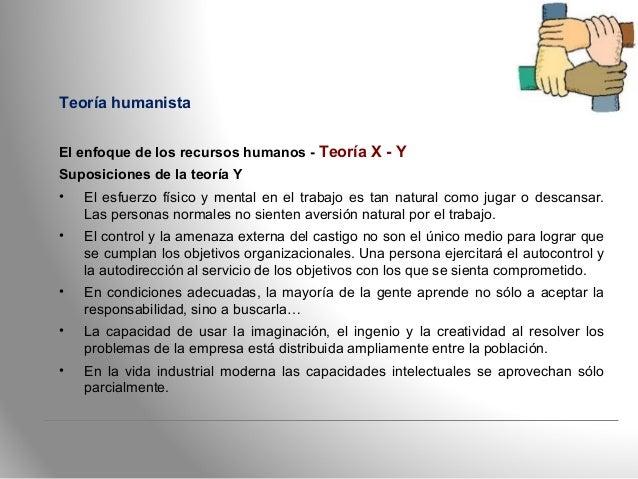 Teoría humanista El enfoque de los recursos humanos - Teoría X - Y Suposiciones de la teoría Y • El esfuerzo físico y ment...