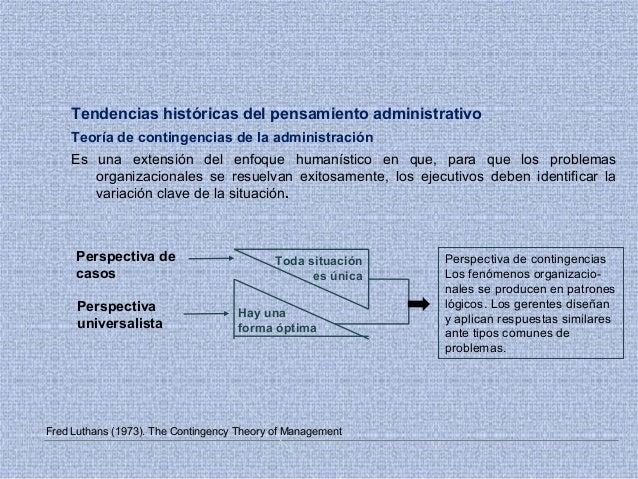 Tendencias históricas del pensamiento administrativo Teoría de contingencias de la administración Es una extensión del enf...