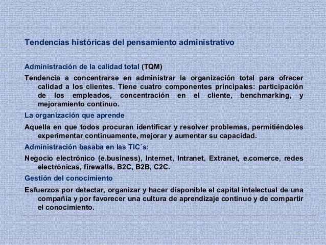 Tendencias históricas del pensamiento administrativo Administración de la calidad total (TQM) Tendencia a concentrarse en ...