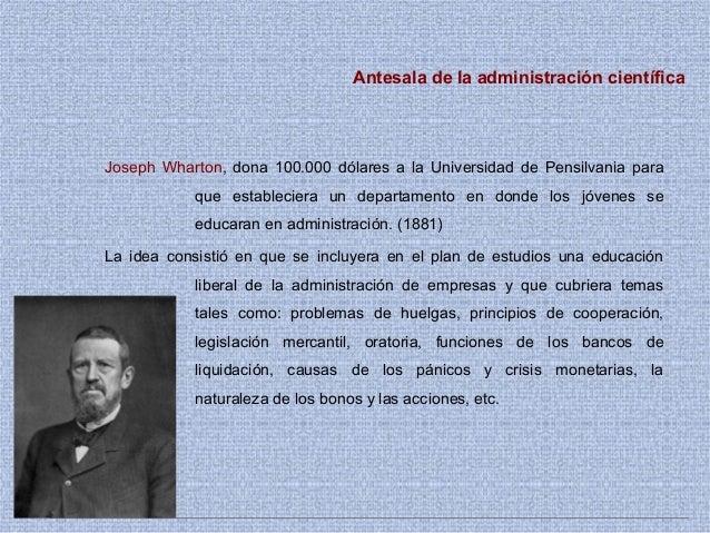 Antesala de la administración científica Joseph Wharton, dona 100.000 dólares a la Universidad de Pensilvania para que est...