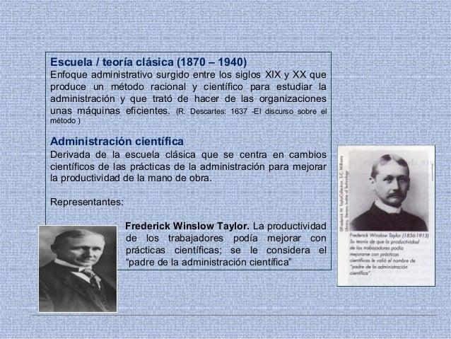 Escuela / teoría clásica (1870 – 1940) Enfoque administrativo surgido entre los siglos XIX y XX que produce un método raci...