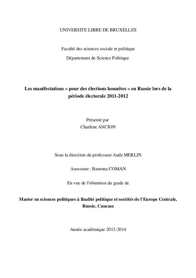 UNIVERSITE LIBRE DE BRUXELLES Faculté des sciences sociale et politique Département de Science Politique Les manifestation...