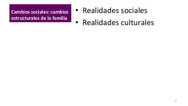 Cambios sociales: cambios estructurales de la familia  • Realidades sociales • Realidades culturales  4