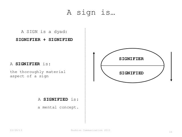 A sign is… A SIGN is a dyad: SIGNIFIER + SIGNIFIED  SIGNIFIER  A SIGNIFIER is: the thoroughly material aspect of a sign  S...