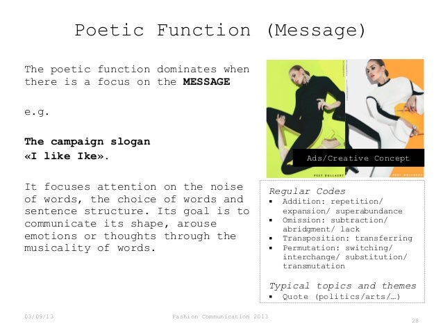 Poetic Function (Message) The poetic function dominates when there is a focus on the MESSAGE e.g. The campaign slogan «I l...