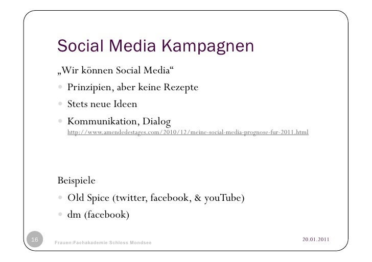 "Social Media Kampagnen     ""Wir können Social Media""      Prinzipien, aber keine Rezepte      Stets neue Ideen      ..."