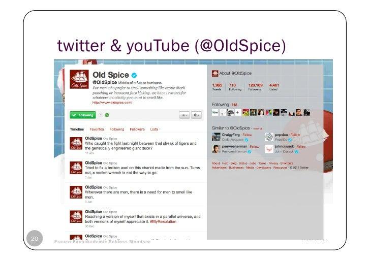 twitter & youTube (@OldSpice)20   © Heidrun Allert, Institut für Pädagogik, cau zu kiel   19.01.2011     Frauen:Fachakadem...