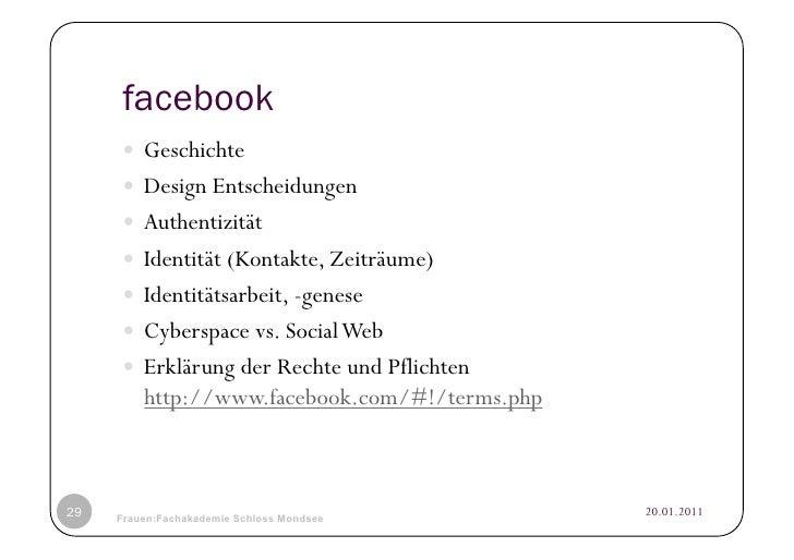 facebook      Geschichte      Design Entscheidungen      Authentizität      Identität (Kontakte, Zeiträume)     ...