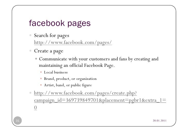 facebook pages      Search for pages        http://www.facebook.com/pages/      Create a page           Communicate ...