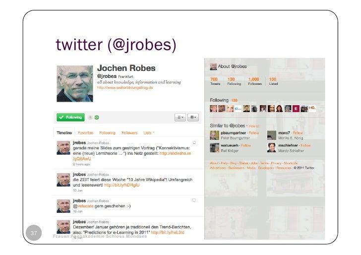 twitter (@jrobes)37   © Heidrun Allert, Institut für Pädagogik, cau zu kiel   19.01.2011     Frauen:Fachakademie Schloss M...