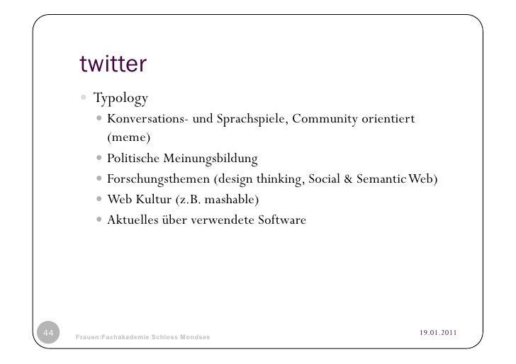 twitter      Typology           Konversations- und Sprachspiele, Community orientiert             (meme)           P...