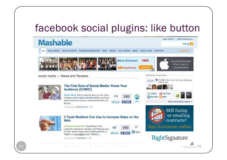 facebook social plugins: like button53   © Heidrun Allert, Institut für Pädagogik, cau zu kiel   20.01.2011